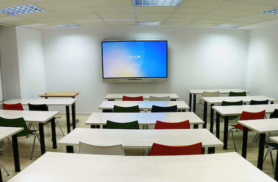 training room with interactive display