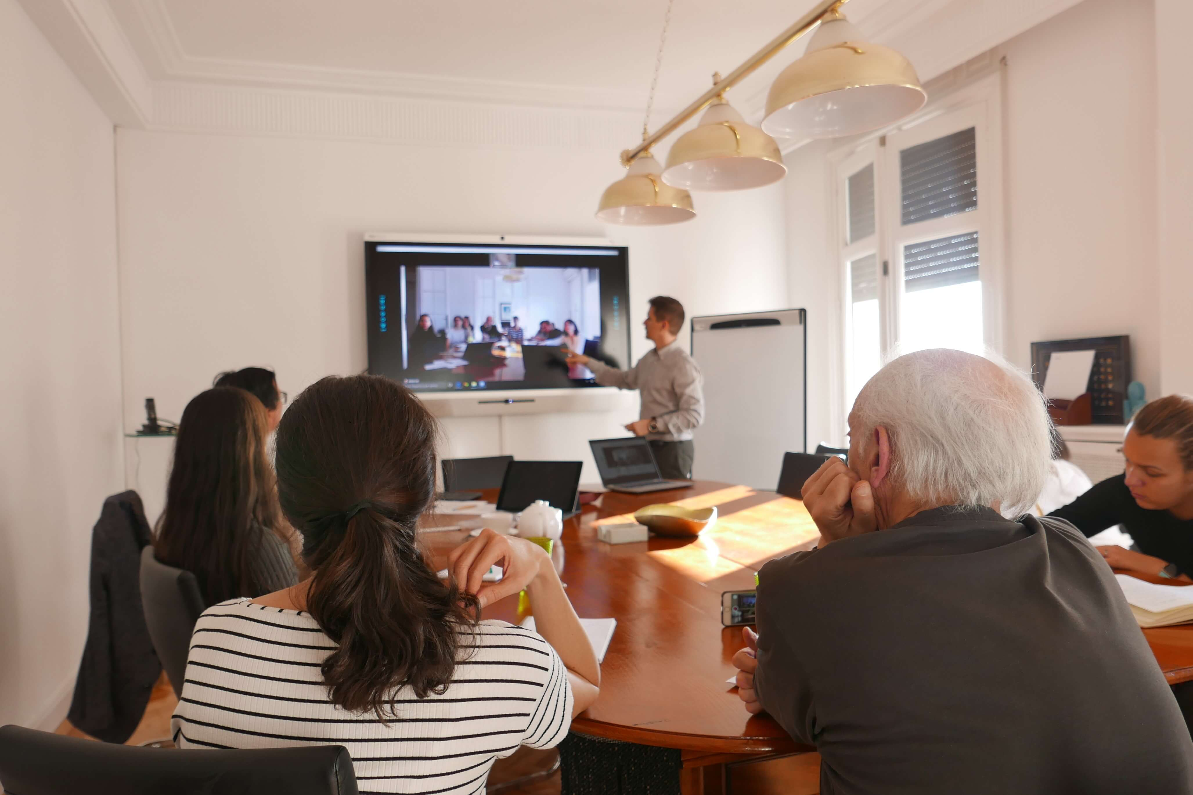 multiple location meeting with interactive display