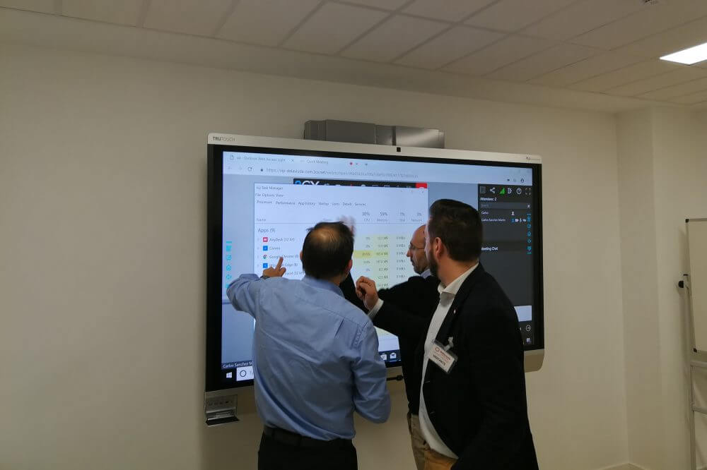 Interacting on touchscreen during meeting