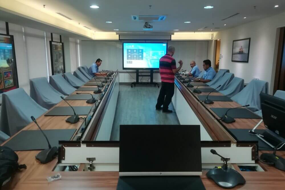 boardroom with interactive display