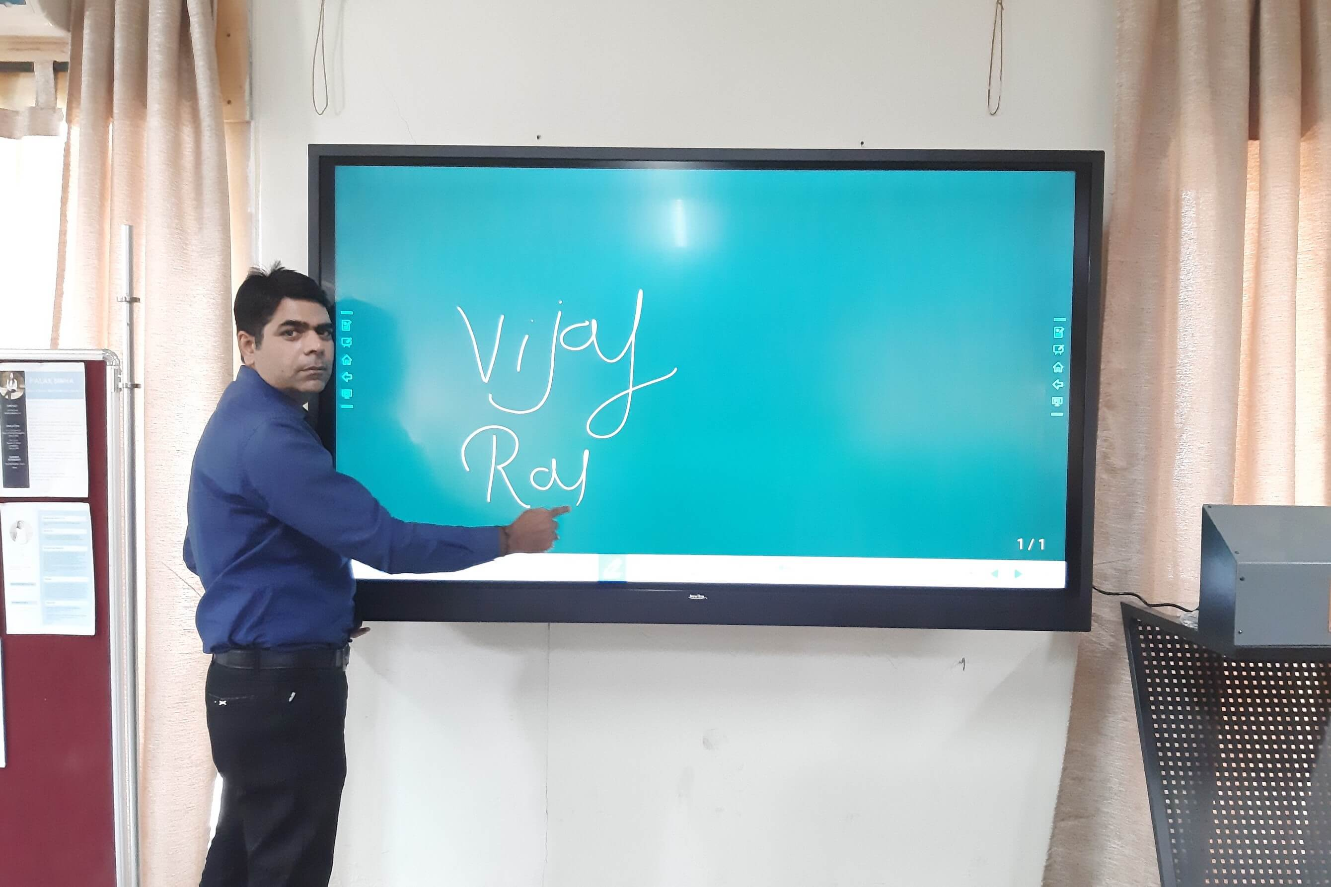 person interacting on touch screen