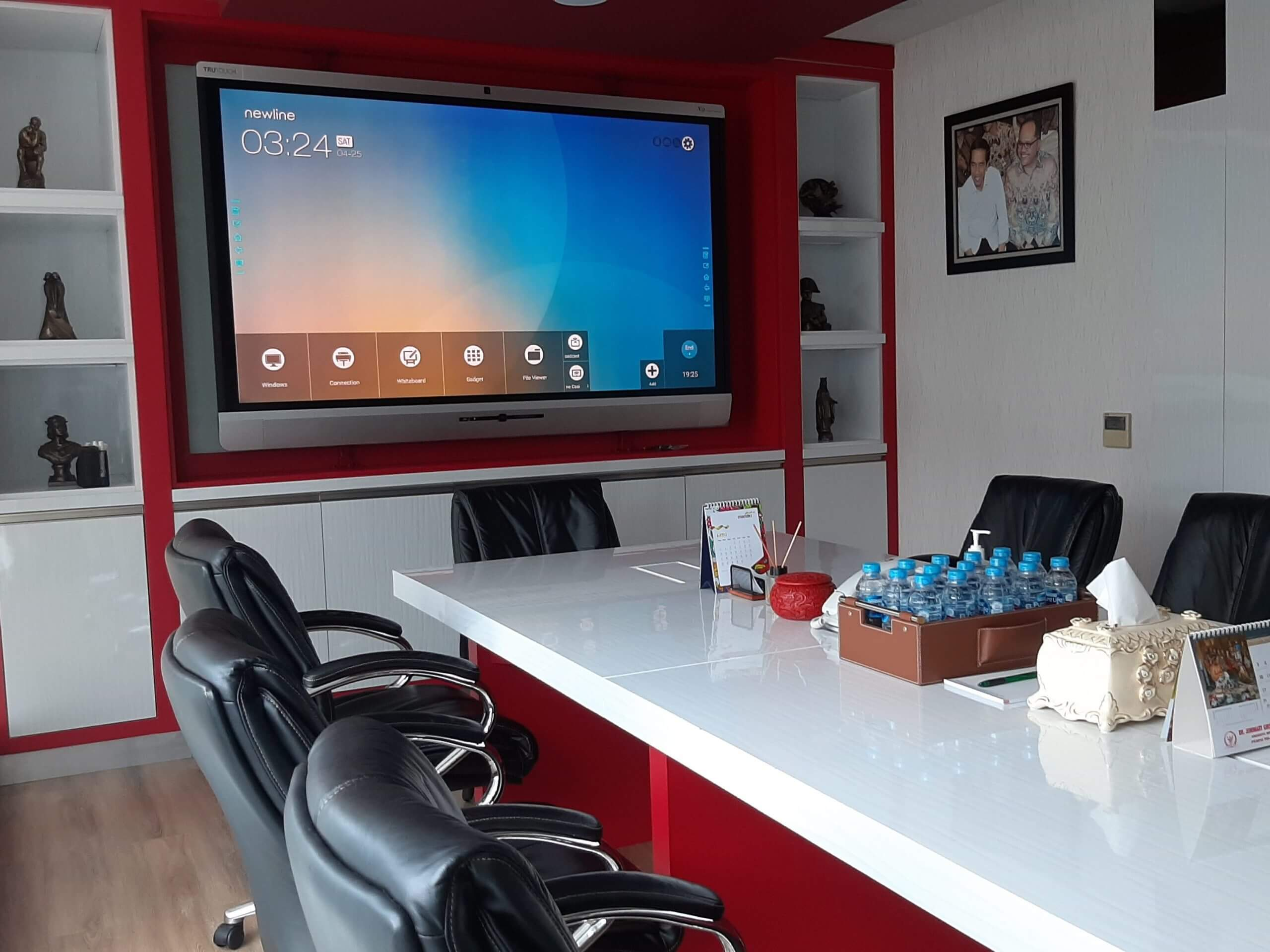 meeting room with interactive display