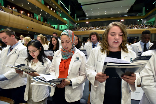 Scenes of the Michigan State University College of Human Medicine Matriculation and White Coat Ceremony for the Entering Class of 2019 an DeVos Performance Hall in Grand Rapids Sunday 8/25/2019