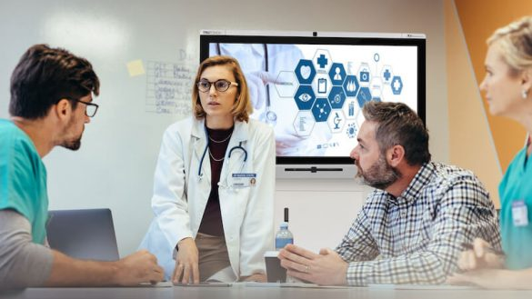 healthcare discussion with interactive display during meeting